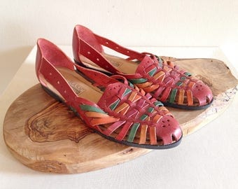 Vintage Rainbow Red Huaraches Southwest Sandals Size 9 1/2