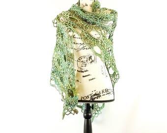 Handspun crochet shawl/wrap- handmade, ready to ship, green, blue, yellow