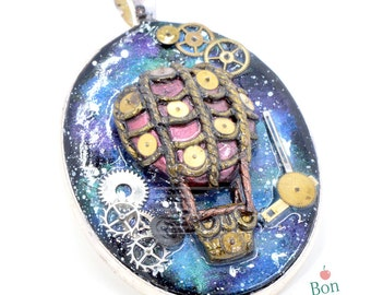 Galaxy Steampunk Hot Air Balloon Pendant,Glow in the Dark, Steampunk Jewelry, Galaxy Necklace, Statement Necklace, Polymer Clay Jewelry
