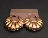 Large Vintage Gold Plated Shrimp Hoop Earrings