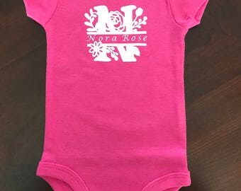 Initial with Name Onesie - Girl