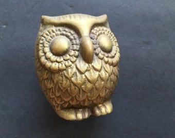 Brass Owl Figurine Vintage