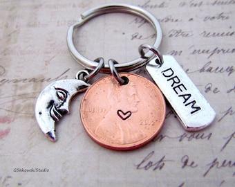 Dream Moon Charm Lucky Penny Keychain, Heart Lucky Penny, Dream Tag Dreamer Keychain