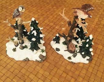 Department 56 Majestic Woodland Birds Owl Hawk Figurines