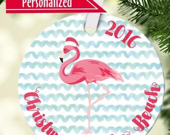 Flamingo Ornament - Personalized Ornament - Name Date  Coastal Beachy Customized Christmas Ornament - Free Gift Box