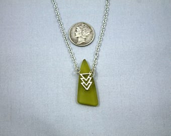Geometric Necklace with Tumbled Glass