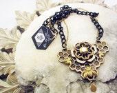 Honeycomb queen bee necklace, lasercut jewelery, statement necklace, bib necklace, jewelery by phresha