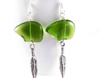 Earrings green glass bear fetish with pewter feather dangles on surgical steel earring findings