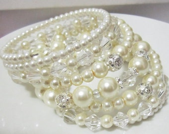 Statement Bridal Jewelry Pearl and Rhinestone Bracelet Bridal Pearl Bracelet Wedding Bracelet Multi Strand Layered Bracelet Ivory or White
