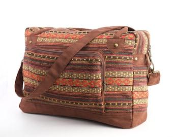 Hippie, Weekender Bag, Overnight Bag, Lightweight Vacation Bag Ethnic, Tribal, Folk, Duffle Bag