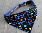 Pacman Pet Bandana, Cat Clothing, Dog Accessories, Classic Arcade Game, Video Games, Slide Over Collar, Handmade in Canada, Pac Man Bandanna