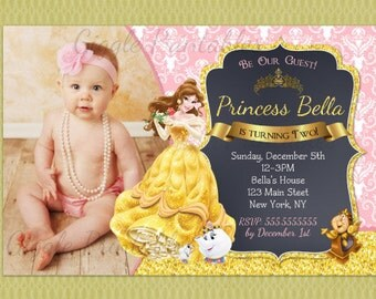 Beauty and the Beast Invitation Princess Belle Party
