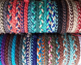 1 Braided HEMP BRACELET -  Choose Your own Colors - Hippie Surfer Braided Hemp Bracelet for Men or Women