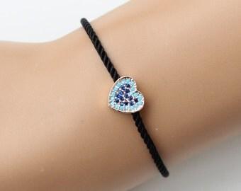 Heart bracelet, turquoise heart, zircon bracelet, black cord bracelet, fashion jewelry, style, adjustable bracelet, christmas gift