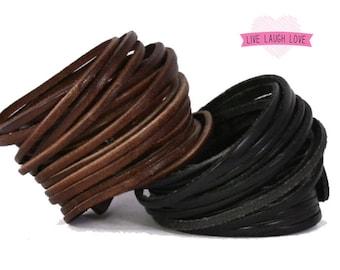Genuine Leather Wrap Bracelet. Multi-strand Real Leather Cuff. Stacked Sliced Leather Bangle Bracelets Wide Double Wrap Bracelets B001A