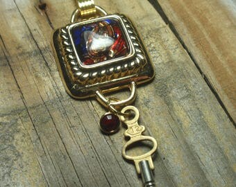 Mosaic Pendant Necklace, Steampunk Necklace, Stain Glass Pendant,  Birthstone Charm Necklace, Vintage Key Necklace, N64