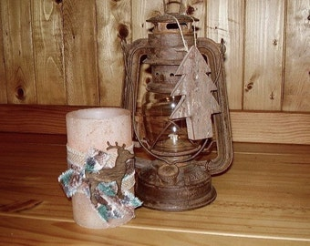 READY TO  SHIP, Christmas Candle, Rustic Christmas Candle, Rustic Home Decor, Rustic Christmas Accent Candle, Candle With Deer