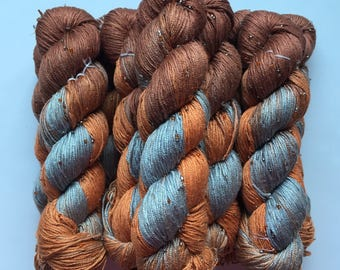Hand Beaded & Dyed Mulberry Silk Yarn // AUTUMN LEAVES - Light Brown, Copper, Blue Gray // 3 Skeins