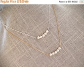 SALE Pearl Bar Necklace - Freshwater Pearl Layering Necklace - Row of Pearls Sterling or 14K Gold Filled - Bridesmaid Necklace, June Birthst