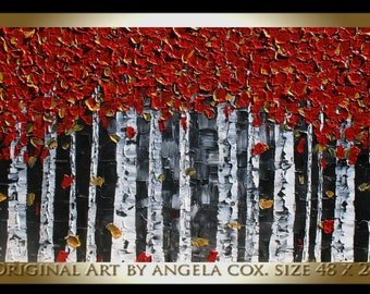 Original Modern Red  Birch   Tree Landscape  Acrylic Impasto Palette Knife    Painting. Size 48 x 24.