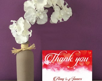 Red Hearts Wedding Thank You cards