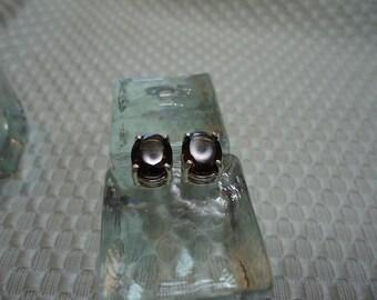 Oval Cut Smoky Quartz Earrings in Sterling Silver   #1978