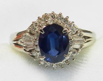 Sapphire Platinum Engagement Ring Sapphire Ring 1.25 Ct Sapphire Diamond Halo Engagement Ring Natural Sapphire September Birthstone Gift