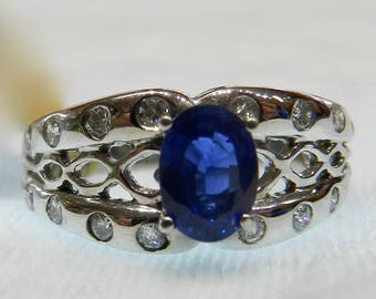 Sapphire Ring 18K 1 Ct Sapphire Vintage Engagement Ring Genuine Blue Sapphire 18K White Gold Ring Unique Engagement September Birthday