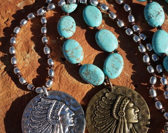 Leather Native American Medallion Knotted Necklace, Boho Western, Turquoise, Silver