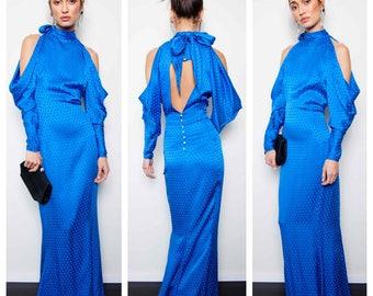 amazing vintage 70s/80s EMANUEL UNGARO silk cold shoulder high neck maxi gown