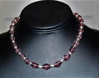 SALE! Antique Art Deco Faceted Amethyst Czech Glass Fabulous Choker Necklace NG5