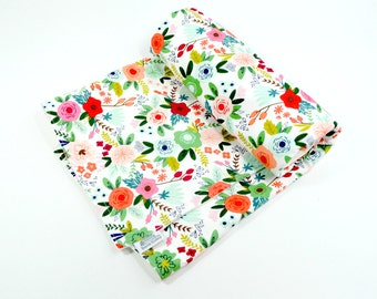Baby Blanket, Toddler Blanket, Modern, flowers, floral, girl, gift, new baby, 100% coton, organic cotton fleece, boho baby, green, peach,