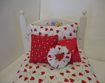 American Girl Doll Bedding Red and White Hearts