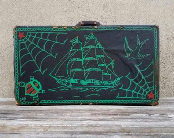 Vintage Tattoo Artist Machine Travel Carry Box with Original Painted Flash Artwork