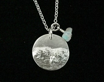 "Fine silver ""Tide"" pendant with rough opal"