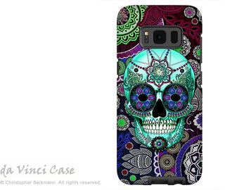 Samsung Galaxy S8 PLUS Case - Day of the Dead Galaxy S 8 PLUS Case with Purple Paisley Sugar Skull Art - Sombrero Night - Dual Layer Case