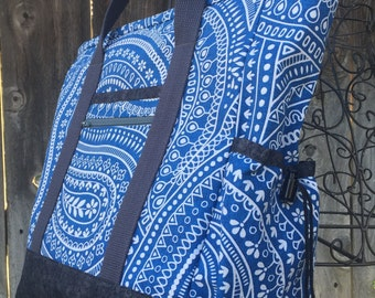 Tote Bag with Pockets, Teacher Tote, Nurse Bag, Tote Bag with Zipper, Diaper Bag, Work Tote, Professional Tote, Blue Kitchen Sink Tote