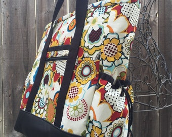 Teacher Tote, Travel Tote, Leather Bottom Large Tote Bag with Pockets, Diaper Bag, Nurse Tote, Professional Tote, Floral Teacher Bag