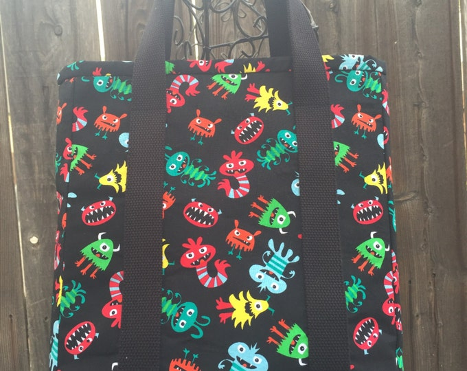 Kid's Tote, Children's Bag, Activity Bag, Young Adult Travel Bag, Monsters / Aliens Tote with pockets, Small Tote with Zipper, Coloring Book