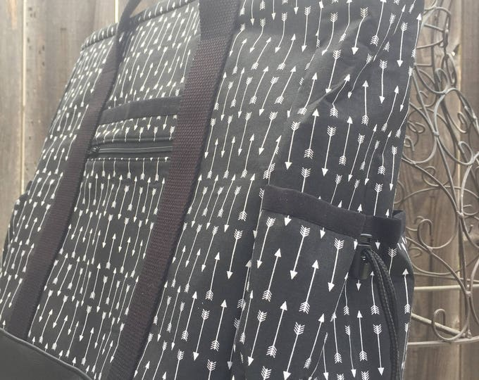 Travel Tote, Leather Bottom Large Tote Bag with Pockets, Diaper Bag, Arrows Kitchen Sink Tote, Professional Tote, Teacher Bag