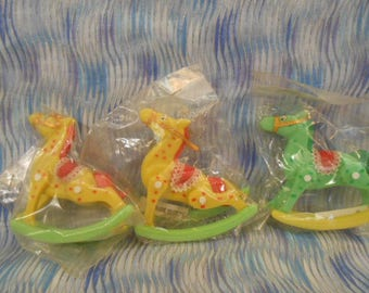 Three Vintage Sealed Rocking Horse Cake Toppers