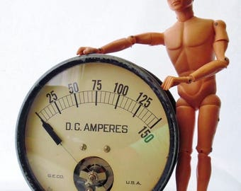 "ON SALE Vintage, Industrial, Steampunk, G.E. Company, Very Large, D.C. Amperes Gauge, 7"" Diameter, Made in Usa, Industrial Artifacts"