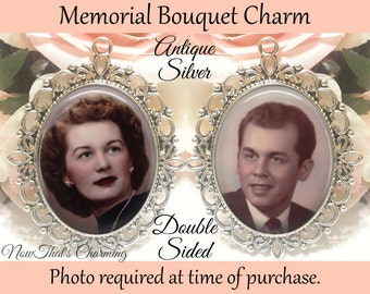 SALE! Double-Sided Wedding Memorial Bouquet Charm - Personalized with Photo - Antique Bronze or Silver