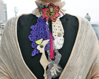 Textile art jabot Big bold chunky collar necklace Contemporary necklace bib, Leather and lace Fabric necklace Mixed media collage Neck piece