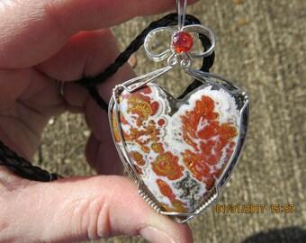 Rare Wingate Pass Plume Agate Heart Designer Cabochon Wire Wrapped  Pendant