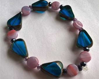"7"" Stretchy Bracelet: Cobalt Blue Czech Glass, Light Purple & Salmon Pink Glass Beads, Black or Purple Crystal Beads"