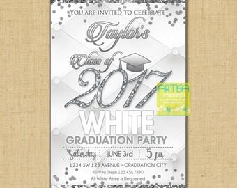 White and Silver graduation invitation, all white graduation invitation, white silver Graduation Invitation, Class of 2017 Graduation White