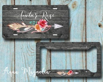 Floral Tribal Arrow License Plate - Rustic Dark Weathered Wood - License Plate Frame - Personalized - License Plate Set - Monogrammed