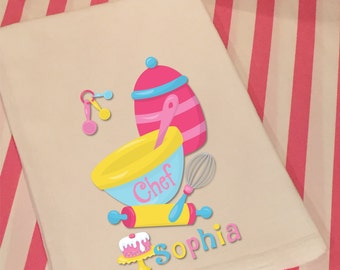 Personalized Baking Party White Flour Sack Towel for Girls Boys Kids Chef Baking Cooking Party Birthday Gift Favor Kitchen Hand Tea Towel