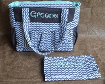 Custom Diaper Bag- Gray and Mint Green Diaper Bag-Broken Chevron Diaper Bag- Nappy Bag- Gender Neutral Diaper Bag- Baby Shower gift